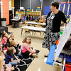 Don Knight | The Herald Bulletin<br /> Katie Brandon goes over a writing lesson with her students at the Killbuck Kindergarten Extension on Wednesday.
