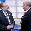 Don Knight | The Herald Bulletin<br /> Democratic gubernatorial candidate John Gregg, right, talks with Elwood Mayor Todd Jones during a meet-and-greet before an election rally at the Millcreek Civic Center on Friday.