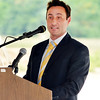 John P. Cleary | The Herald Bulletin<br /> Italpollina CEO Luca Bonini addresses those gathered for their ground breaking Wednesday.