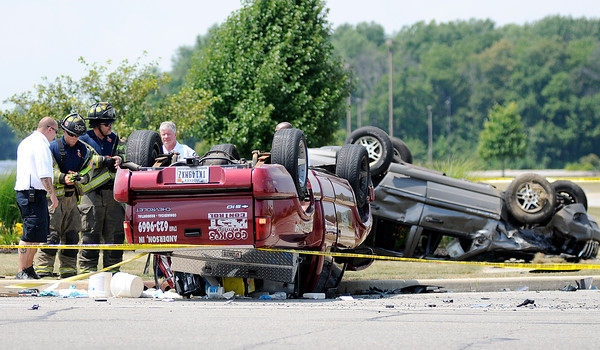 Don Knight | The Herald Bulletin<br /> One person died and two were injured in an accident at Columbus Avenue and East 67th Street on Thursday.