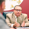 John P. Cleary | The Herald Bulletin<br /> Elwood Mayor Todd Jones talks to Police Chief Jason Brizendine during a recent meeting.