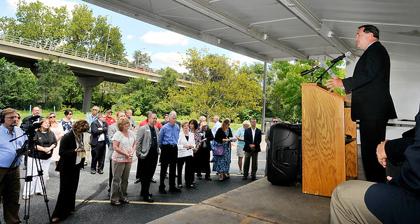 John P. Cleary   The Herald Bulletin<br /> U.S. Senator Joe Donnelly was in town with county and city leaders to highlight the federal grant to replace Eisenhower Bridge the county has received.