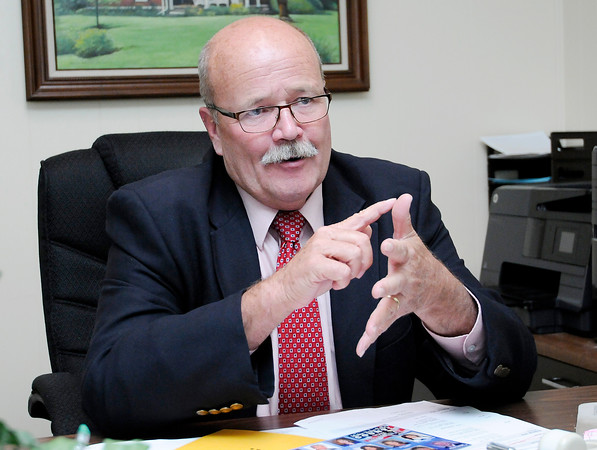 Don Knight | The Herald Bulletin<br /> Democratic gubernatorial candidate John Gregg talks about his focus on bringing higher paying jobs to Indiana during an interview before an election rally at the Millcreek Civic Center on Friday.