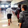 John P. Cleary | The Herald Bulletin<br /> Pendleton Heights Middle School students hustle out of their classrooms as the school holds an active threat drill Tuesday morning. Students and staff were to evacuate the building and run to a pre-determined rendevouz location as quick as possible.
