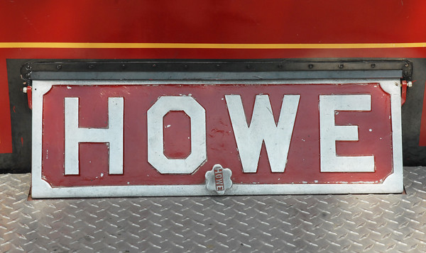 This Howe Fire Apparatus Company plate was displayed on an antique firetruck at the Pendleton Public Safety Day. Howe Fire Apparatus Company once operated in Anderson.