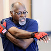 Don Knight | The Herald Bulletin<br /> Sam Watkins leads a group through a series of stretches to warmup for a Rock Steady Boxing workout on Friday. Community Hospital Anderson launched a Rock Steady program for Parkinson's patients.