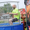 Don Knight | The Herald Bulletin<br /> Northgate True Value manager Dave Hinson goes into the dunk tank during a fundraiser for St. Jude Chrildren's Hospital on Saturday.