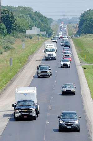 Don Knight   The Herald Bulletin<br /> Traffic heads north on I-69 at exit 210 on Thursday. An extra lane is being added between exit 205 in Fishers and exit 214 in Pendleton as part of the Major Moves 2020 construction project.