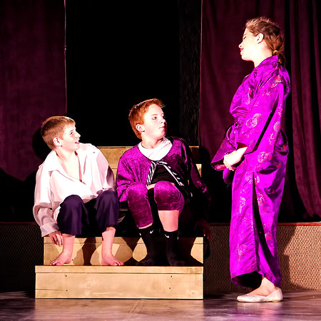 """Mark Maynard   for The Herald Bulletin<br /> The Prince (Parker Smith) and King Leopold (Tyler McCorkle) are confronted by Queen Constantina (Hannah Whipple) in """" Cinderella."""""""