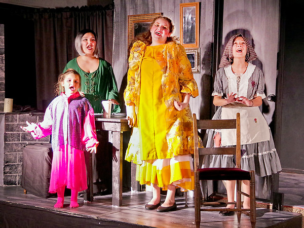 """Mark Maynard   for The Herald Bulletin<br /> Step-sister Joy (Morgan Prophet), Step-mother Melpomone (Meredith Nichols) , step-sister Portia (Bailey Perry) and Cinderella (Lilly Thomas) sing :A Lovely Night"""" in the Commons Theatre's production of """"Cinderella."""""""