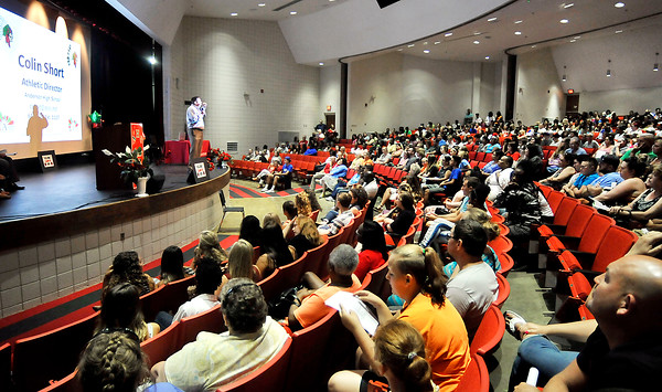 John P. Cleary | The Herald Bulletin<br /> Anderson High School Athletic Director Colin Short addresses the class of 2020 during freshman orientation this past Monday.