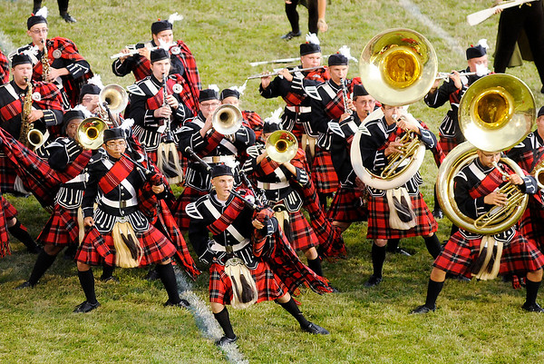 """Don Knight   The Herald Bulletin<br /> The Anderson High School marching Highlanders previewed their State Fair Band Day show, """"Celtic Runes: Mind, Body, Spirit,"""" during an ice-cream social on Thursday. The band will be performing at 11:56 a.m. at the State Fair on Saturday. Look for complete coverage of all local bands online Saturday and in Sunday's paper."""