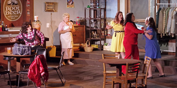 """Mark Maynard   for The Herald Bulletin<br /> Stella Mae (Sharon Zimmer) and Juanita (Katherine Holtzleiter) react as Joanne (Rhonda Tinch-Mize) prevents an argument between Sissy (Angela Gick) and Mona (Erynn Erwin) from turning physical in """"Come Back to the Five-and-Dime, Jimmy Dean, Jimmy Dean."""""""