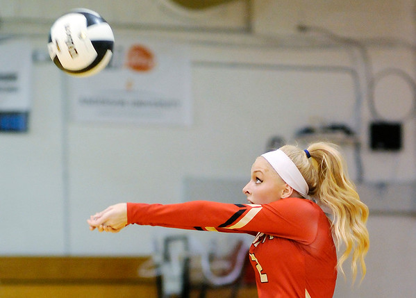 Don Knight   The Herald Bulletin<br /> Liberty Christian's Savannah Rees passes the ball as the Lions hosted the APA Jets on Tuesday.