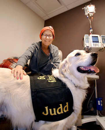 John P. Cleary |  The Herald Bulletin<br /> Susan Myrick smiles as she pets Judd while getting treatment in the Oncology Department at St. Vincent Mercy Hospital in Elwood this past Tuesday. Judd, a golden retriever therapy dog, visits the hospital on the first Tuesday of each month as part of their new pet therapy program.