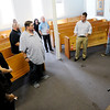 Don Knight | The Herald Bulletin<br /> Sen. Todd Young talks to the staff of The Christian Center after a tour of their facility on Tuesday. Sen. Young visited the center as part of his Opportunity Tour.