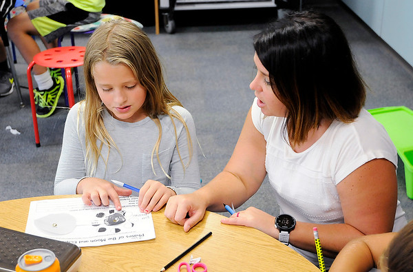 Don Knight | The Herald Bulletin<br /> Pamela Kittle talks to Izzy Barnes, 9, about the phases of the moon as Kittle's fourth grade class learns about the solar eclipse on Friday.