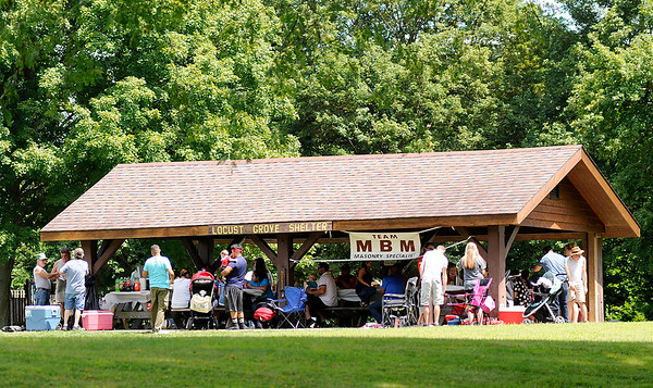 Don Knight | The Herald Bulletin<br /> MBM held their company picnic at the Locust Grove Shelter at Mounds State Park on Saturday. Since the early 1990s DNR has practiced 'carry-in, carry-out' with trash from picnics and other day uses.