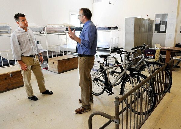 Don Knight | The Herald Bulletin<br /> Christian Center Executive Director Rob Spalding gives Sen. Todd Young a tour of the dormitory at The Christian Center on Tuesday. Sen. Young visited the center as part of his Opportunity Tour.