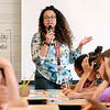 John P. Cleary |  The Herald Bulletin<br /> New Anderson Community Schools 4-grade teacher Romelie Pitts gives her students instructions as they go through a word game Wednesday on the first day of classes at Erskine Elementary School.