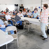 Don Knight | The Herald Bulletin<br /> Rep Susan Brooks talks to local farmers  during a Shop Talk hosted by Bracken Farms on Wednesday. Rep. Brooks is meeting with constituents during the August recess.
