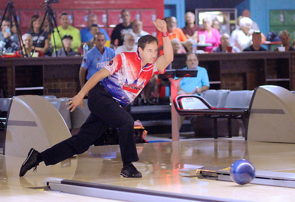 Don Knight | The Herald Bulletin<br /> Parker Bohn III bowls in the stepladder finals of PBA50 Dave Small's Chmpionship Lanes Classic on Tuesday. Bohn went on to win working his way up from third place.