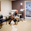 John P. Cleary |  The Herald Bulletin<br /> Judd, a golden retriever therapy dog, visits patients and staff at St. Vincent Mercy Hospital in Elwood.