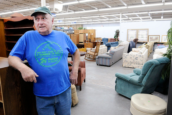 Don Knight | The Herald Bulletin<br /> Jim Wehrly, Habitat for Humanity ReSale Store Manager, talks about their new location in Chesterfield on Thursday.