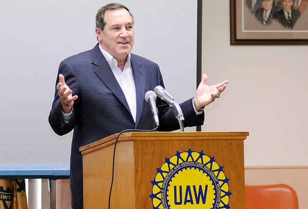 """Don Knight   The Herald Bulletin<br /> U.S. Sen. Joe Donnelly speaks at the UAW in Anderson as he starts his re-election campaign with a """"Hoosier Highways"""" RV tour on Monday."""