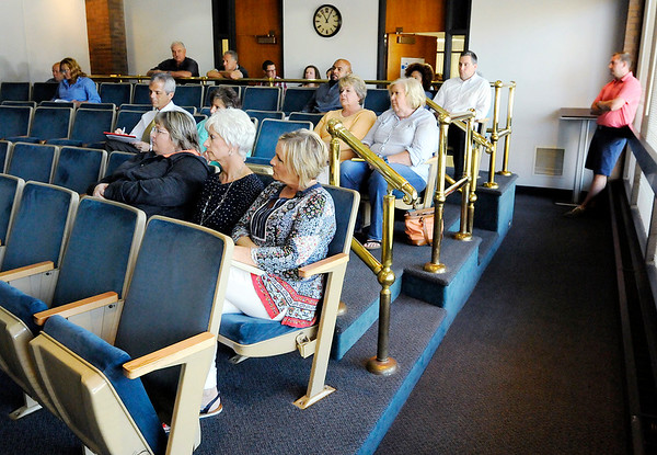 Don Knight   The Herald Bulletin<br /> Madison County Government Center employees turned out for an asbestos question and answer session on Wednesday.