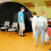 Don Knight | The Herald Bulletin<br /> Library patrons file into the Dome Theater, a mobile inflatable planetarium, at the Anderson Public Library on Thursday.