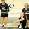 Don Knight | The Herald Bulletin<br /> Madison-Grant's Lexi Crouse passes the ball as the Pendleton Heights Arabians hosted the Argylls on Thursday.