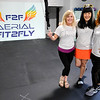 Don Knight | The Herald Bulletin<br /> Bungee workout creator Jaey Raywadee, center, visited Fit2Fly in Anderson on Thursday. Fit2Fly owners from left are Lindsay Montgomery and Charity Rees.