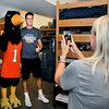 John P. Cleary | The Herald Bulletin<br /> Incoming freshman Jacob Spratley, from Columbus, Ind., gets his picture taken with Rodney the Raven in his dorm room in Dunn Hall Thursday during move-in day for incoming freshman at Anderson University.