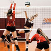John P. Cleary | The Herald Bulletin<br /> Alexandria's Lauren Dungan splits Liberty Christian defenders, Taylor Webber and Maddy Harmon, as she makes a kill.