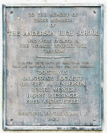 John P. Cleary   The Herald Bulletin<br /> This is the inscription on the Anderson High School World War I monument that now has a permanent home in the Veterans section of East Maplewood Cemetery.