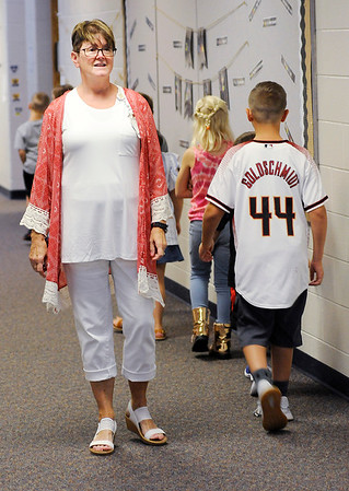 Don Knight | The Herald Bulletin<br /> Vicky Hartley walks with her students back to their classroom as Shenandoah students started the new school year on Thursday.