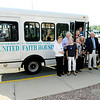 Don Knight | The Herald Bulletin<br /> United Faith Housing dedicated a bus for residents of Harter House and Vermillion place on Thursday. Jim and Marilyn Ault purchased the bus, Bill Thompson painted it, Mildred Marcum purchased the graphics and the Isabel Society bought the paint.