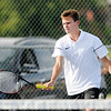Don Knight | The Herald Bulletin<br /> Lapel's Reid Ratzlaff returns the ball as Ratzlaff and Ross Hagen faced Eastern Hancock's Keegan Bowman and Brody Ellis in the No. 1 doubles match on Wednesday.