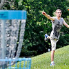 John P. Cleary | The Herald Bulletin<br /> Robert Frepan, of Anderson, takes aim at his target as he gets a round of disc golf in Monday afternoon at the Sanders Memorial disc golf course at Edgewater Park.