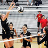 John P. Cleary | The Herald Bulletin<br /> Lapel's Isabel Anderson, left, goes high to block the ball from Daleville's Mary Engbrecht.