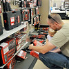 John P. Cleary | The Herald Bulletin<br /> Sears Hometown Store in Anderson is closing September 17th. Justin Shuck of Anderson, and his daughter Vienna, look over the tool sets Saturday as the store closing sale started this weekend.