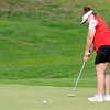 Don Knight | The Herald Bulletin<br /> Frankton's Adrianna Horn putts on the 11th green as the Eagles hosted Oak Hill at Meadowbrook on Friday.