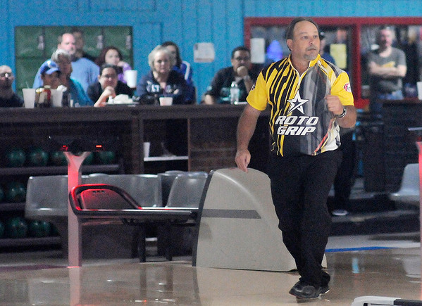 Don Knight   The Herald Bulletin<br /> John Marsala reacts while competing in the stepladder finals at the Dave Smalls Championship Lanes Classic Open on Tuesday. Marsala went on to win the PBA 50 event, the first of his career.