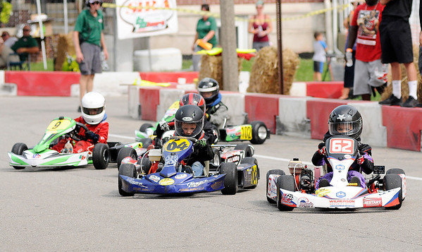 Don Knight | The Herald Bulletin<br /> Drivers take off at the start of the Kid Karts race during the Grand Prix on Saturday. Kid Karts is open to kids age 5 to 8.