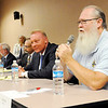 Don Knight | The Herald Bulletin<br /> From right, Greg Noland, Dave Cravens, Robert Jozwiak and Senator Tim Lanane participate in a senate candidate forum at the Anderson Public Library on Tuesday. The event was hosted by One Nation Indivisible/ Madison County.
