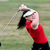 John P. Cleary | The Herald Bulletin<br /> Frankton's Ellie Anderson follows her tee shot on #4 at Yule Golf Club during their match with Wes-Del and Alexandria Monday.