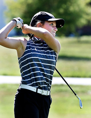 John P. Cleary | The Herald Bulletin<br /> Lapel's Macy Beeson tees off on hole #14 during their match with Daleville at Edgewood Golf Club Wednesday.