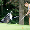 Don Knight | The Herald Bulletin<br /> Lapel's Lauren Lutz chips onto the third green during the Lapel Invitational at the Edgewood Golf Course on Saturday.