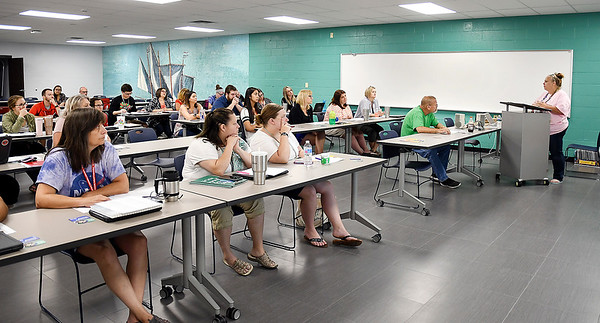 John P. Cleary | The Herald Bulletin<br /> About 30 Anderson Community Schools educators and staff took suicide prevention training this past week learning about what they should look for and the resources available for suicide prevention.